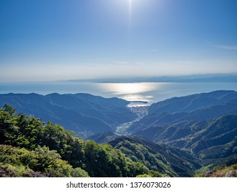 The view from the highland in Izu Peninsula, Shizuoka Prefecture, Japan, in a spring evening.