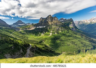 View from the Highline Trail in Glacier National Park, Montana