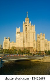 A view of a highrise soviet era building in Moscow Russia