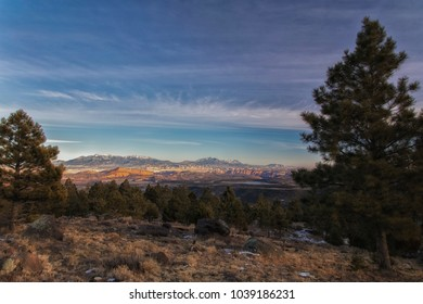View from highway 12 over the Boulder mountains looking toward Lower Bown Lake and Capital Reef in Utah in mid January.
