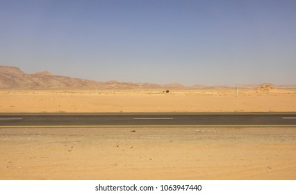View of Highway 15 in Jordan (Desert Highway). Western Asia