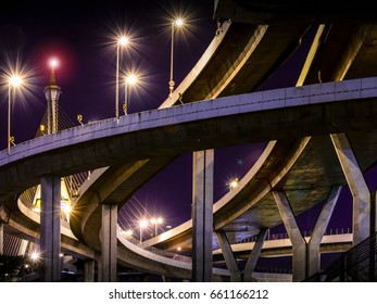 View of Highway Interchange Junction in a Lovely Evening