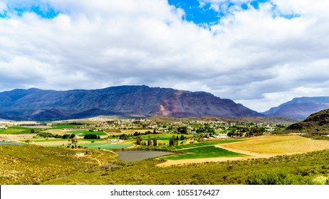 View from Highway R62 of the lovely town of Barrydale, nestled between the Tradouw Valley and the Klein Karoo, in the Western Cape Province of South Africa