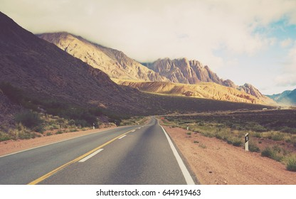 View from highway RN 7 to Andes mountains in summer day. Andes, Argentina, Chile