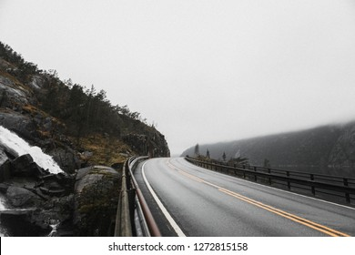 View of highway road in a misty mountain