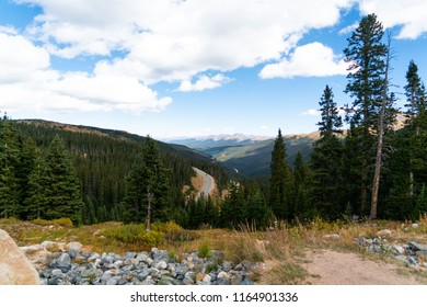 The view of the highway road on the Rocky Mountain National Park, Colorado