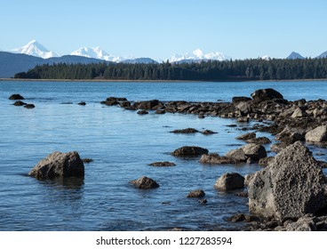 View from a hike along Bartlett Cove in Glacier Bay National Park in Southeast Alaska on a sunny day.