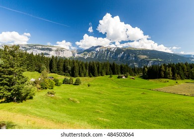 View of the hiking area near Caumasee, Flims, Switzerland