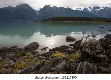 View from hiking trail in the Chilkat State Park near Haines Alaska.