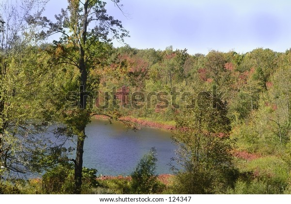 View from the hill above a Michigan fishing lake.