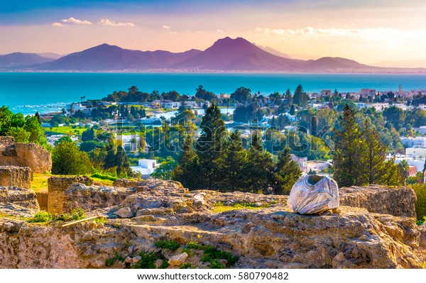 View from hill Byrsa with ancient remains of Carthage and landscape. Tunis, Tunisia.