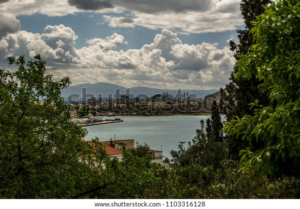 View from a hill at chalkida greece