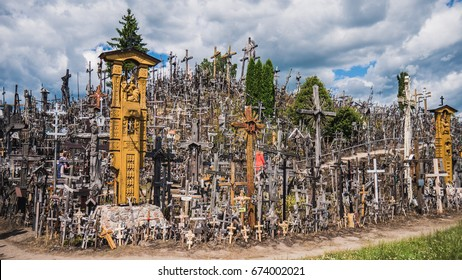 View of the hill of crosses