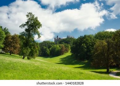 view at the hill at  hof garden in coburg franconia bavaria