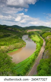 View from the hill into the valley with the Berounka river