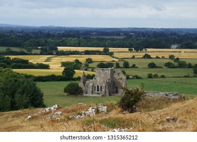 View from the hill on the ruins of Hore Abbey near the medieval castel Rock of Cashel, County Tipperary, Ireland