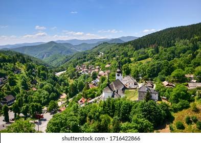 View from a hill over the historic village of Spania dolina in Slovakia