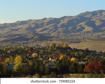 View from the hill of the West side of Reno, NV at dusk on a fall day