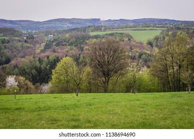 View from hills above Jaroslavice, quarter of Zlin town in Czech Republic