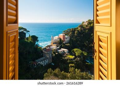 View of the hills around Portofino through a window