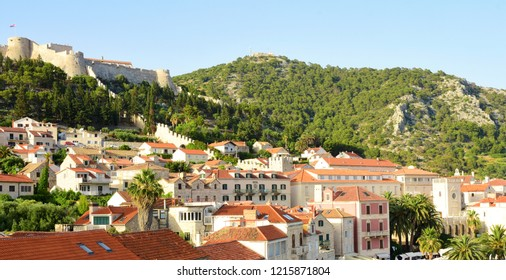 View of Hills and Hvar Fortress - Hvar, Croatia