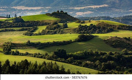 View of hills and meadows in the Slovakian region Liptov in summer