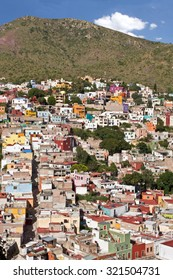 View of Hillside housing on desert mountain in Guanajuato, Mexico