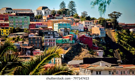 View of Hilltop Colonial City in Latin America (Valparaiso, Chile).
