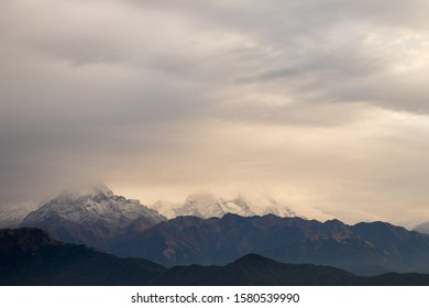 View of Himalaya mountain under cover by fog in the morning. Nepal.