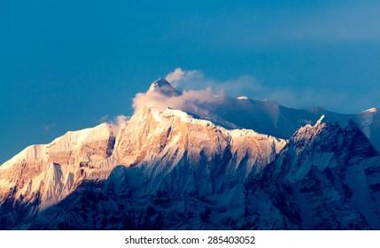 View of the himalayan peak Machhapuchhare, the fish tail, Pokhara, Nepal