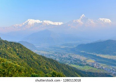 View of the Himalayas Range from Sarangkot Hill in Pokhara,Nepal