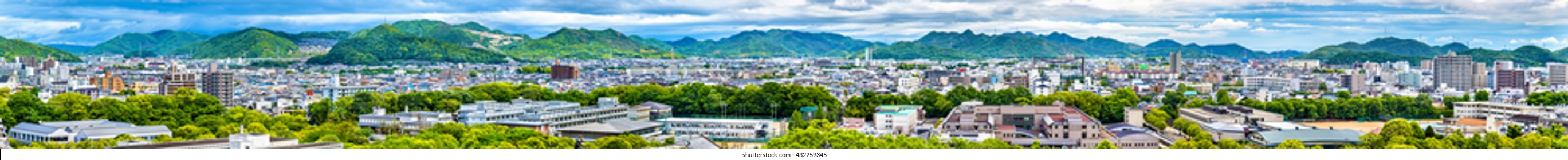 View of Himeji city from Himeji castle - Kansai, Japan