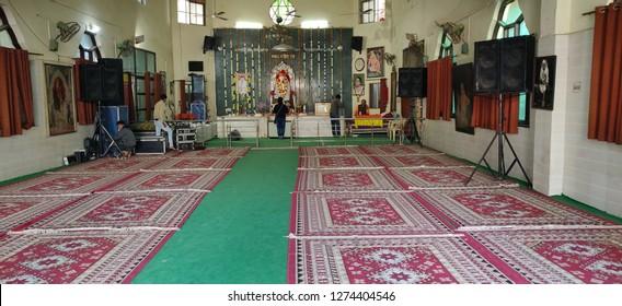 A View of Hindu God Sai Baba temple at New Palam Vihar, Gurgaon, India on 01 Jan 2019