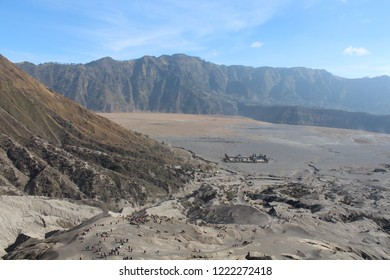 A view of Hindu Temple in Mount Bromo East Java Indonesia surrounding by mountains and sand dunes