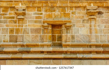 View of Hindu temple wall,Kumbakonam. Tamilnadu india forming of pattern of lines providing beautiful outlook with selective focus on the subject