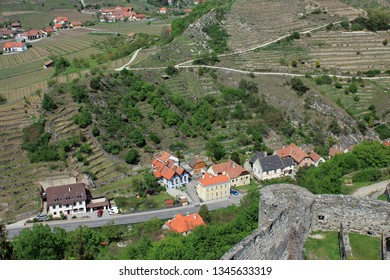 A view from the Hinterhaus castle to the village Weissenkirchen situated in the Wachau valley in Lower Austria, Europe