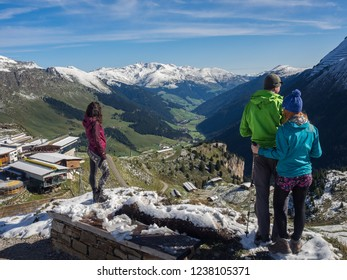 The view of Hintertux mountain station with valley in the background, Tirol, Austria