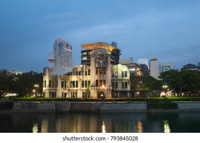 View of Hiroshima atomic dome in evening, Japan