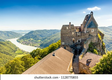 View of historic Aggstein castle ruin on the Danube river. Lower Austria.