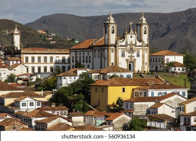 View of historic baroque church Nossa Senhora do Carmo and city Ouro Preto, UNESCO World heritage site, Minas Gerais, Brazil