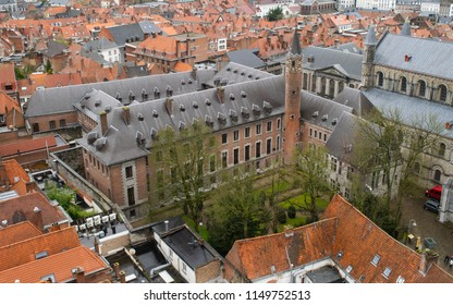 View of historic buildings attached to the Notre Dame Cathedral in Tournai, Belgium