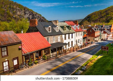 View of historic buildings and shops on High Street in Harper's Ferry, West Virginia.
