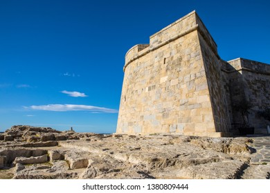 A view of the historic Castillo de Moraira, also known as Moraira Castle, lcoated in the coastal town of Moraira, Spain.