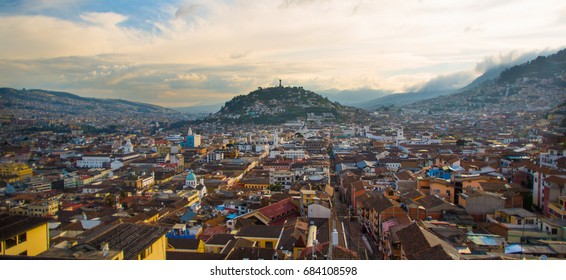 View of the historic center of Quito, Ecuador