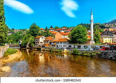 View of the historic centre of Sarajevo , Bosnia and Herzegovina