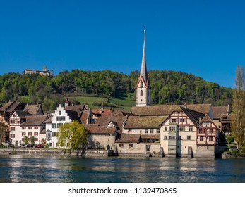 View of the historic centre of Stein am Rhein with St. George's Abbey, Stein am Rhein, Canton of Schaffhausen, Switzerland, Europe