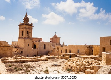 View of historic Citadel In Malta (the Gran Castello). Citadel in Victoria (Rabat) on the island of Gozo in Malta. Popular touristic attraction.