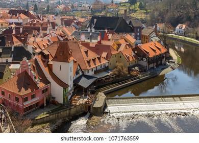 View of historic city center of Cesky Krumlov, Czech Republic.