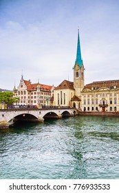 View of the historic city center of Zurich with famous Fraumunster Church and munsterbrucke with river Limmat, Canton of Zurich, Switzerland
