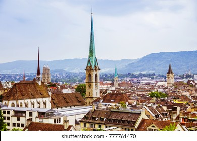 View of the historic city center of Zurich with with, Canton of Zurich, Switzerland. Popular touristic destination in Europe